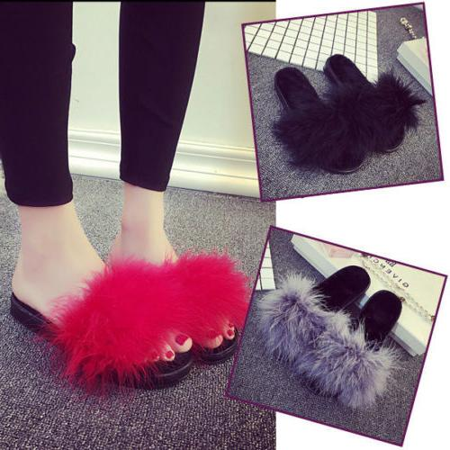 women s fur fluffy slippers open toe