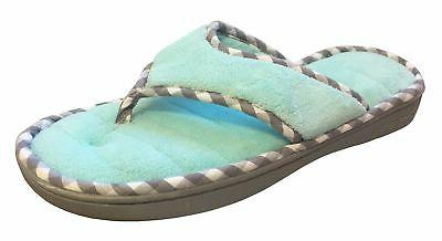 Dearfoams Women's Memory Foam Flip-Flop Terry Thong Sandals