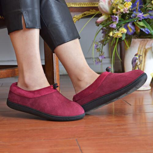 Women's Memory Foam Suede Moccasin Slippers Adjustable House Shoes