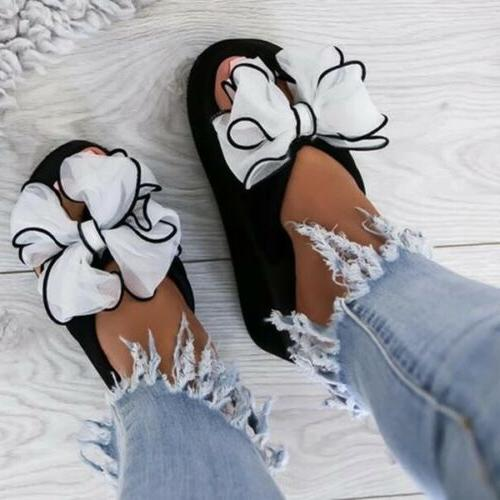 Women's Ladies Summer Slippers Casual Bow On US