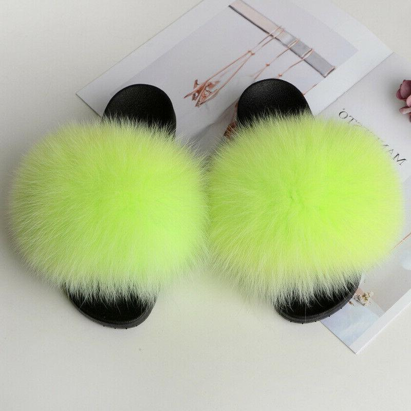 women s real fox fur slides fuzzy