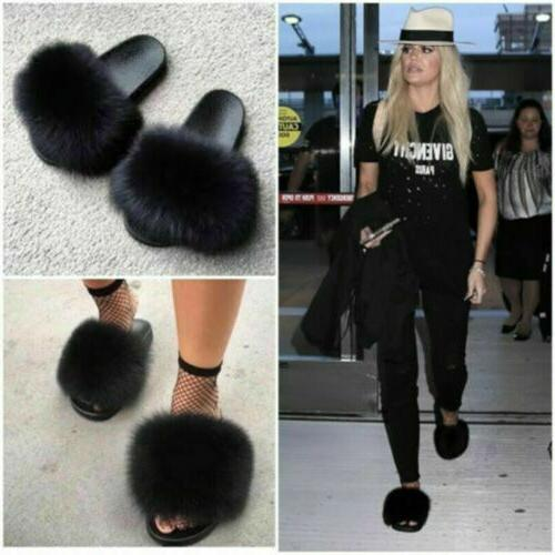 Women's Real Slides Fuzzy Furry Slippers Comfort Q