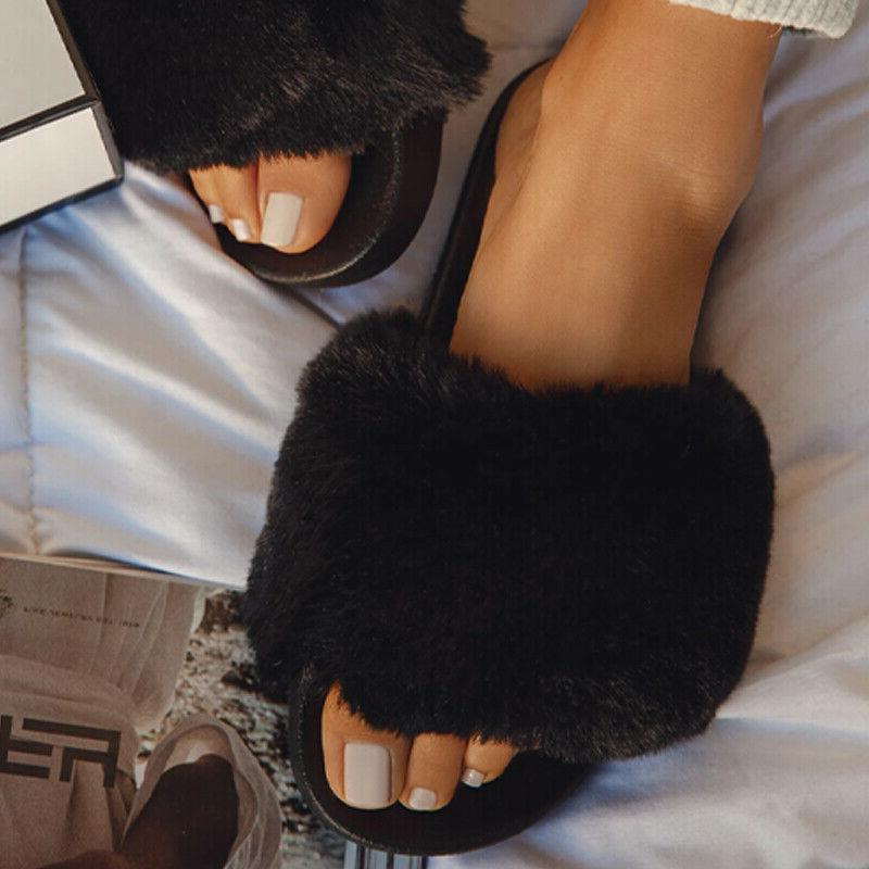 Women Fur Slides Slippers Ladies Sandals Slip On Shoes