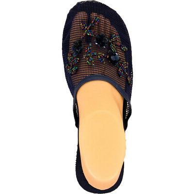Womens Chinese Slides House Floral Sequin Bead