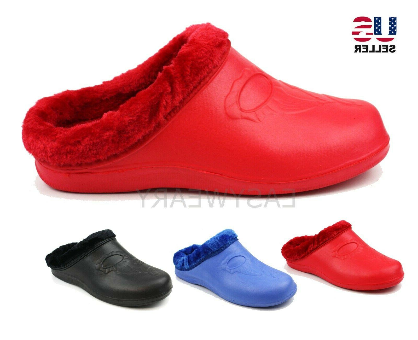 womens fleece lined warm winter slippers clogs