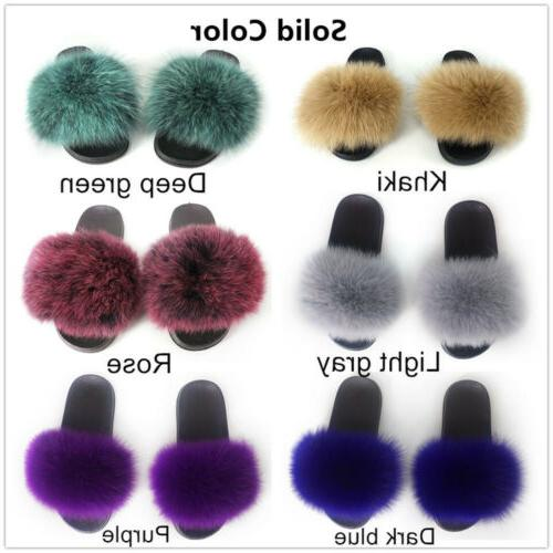 Real Fox Slippers Vogue Fluffy Sandals Trendy Slides Flat US