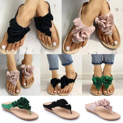 Womens Ruffle Sandals Slippers Shoes Size
