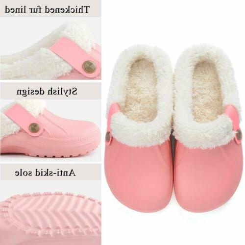 Womens Warm Clogs Slippers Indoor Outdoor Plush Shoes