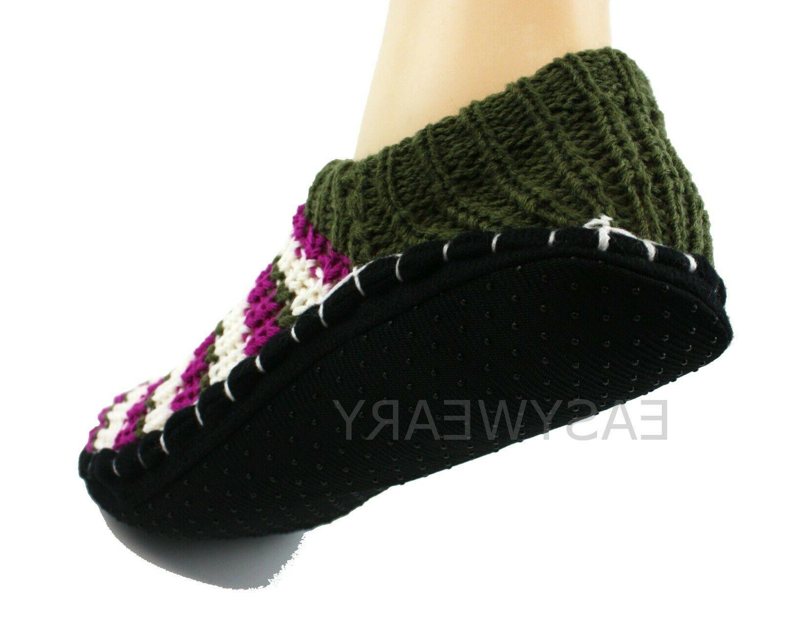 Womens Woven Knit Slip-On Slippers Shoes Non-Skid