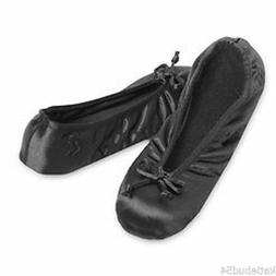 Ladies Isotoner Satin Ballet Style Slippers BLACK Stretch So