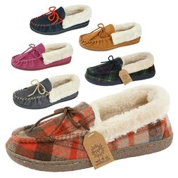 Ladies Women Moccasin Tartan Fur Lined Slip On Mule Winter W