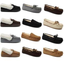 Ladies Womens Moccasin Slippers Fur Leather Suede Casual Win