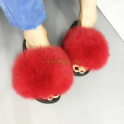 Luxury Large Fluffy Real Fox/Raccoon Fur Women Slippers Shoe