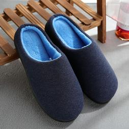 Men's Cozy Memory Foam Winter Bedroom Slippers Knitted Cotto
