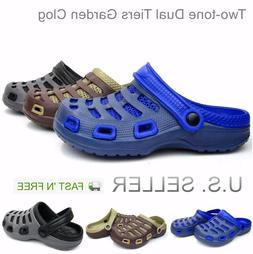 Men's Garden Clogs Boat Shoes Mules Slip-On Casual Two-tone