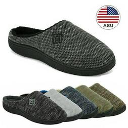 Men's Memory Foam Slippers Comfort Knitted Closed Toe Indoor