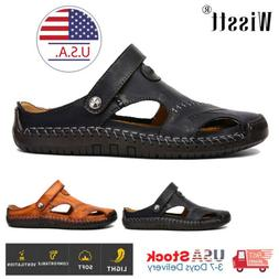 Mens Closed Toe Sandals Summer Leather Shoes Beach Fisherman