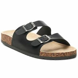 Alpine Swiss Mens Double Strap Slide Sandals EVA Sole Flat C