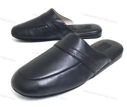 Mens House Slippers  Classic Leather Lining Padded Black Loa