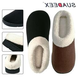 Mens Winter Warm Plush Lined Slippers Indoor Outdoor Slip On