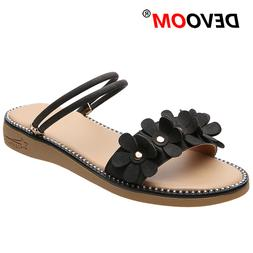 New Brown Teenslippers Women Flowers Furry Slides For Women