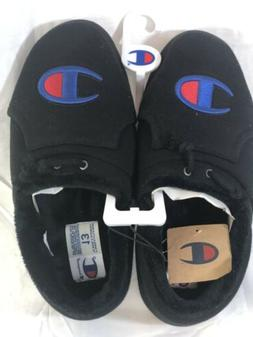 NEW MEN'S CHAMPION UNIVERSITY SLIPPERS BLACK SLIP ON SIZE 12