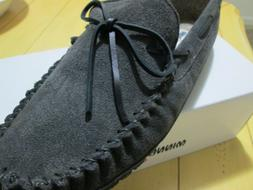 NEW Mens Minnetonka Suede Moccasin Slippers-Charcoal/Dark Gr