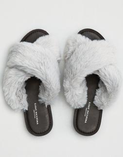 New Women's American Eagle Gray Faux Fur Slides Slippers Sz