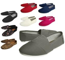 NEW Women's Canvas Slip On Flats Solid Color Casual Shoes Lo