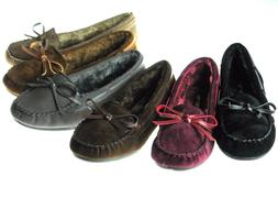 New Womens Moccasins Cushy Faux Fur Slip On Indoor Outdoor S