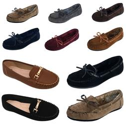 New Womens Moccasins Loafer Slip On Shoe Indoor Outdoor Slip