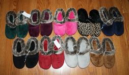 New Womens DEARFOAMS Velour Faux Fur Memory Foam Slippers Sm