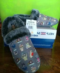 NIB SKECHERS BOBS Cat Memory Foam Women's Mules Slippers 7