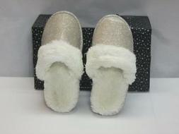 NIB International Concepts Slippers Gold Color w/ Faux Fur T