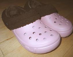 NWOT CROCS slippers Pink Brown shearling removable lined sho