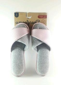 NWT WOMAN'S DEARFOAMS MEMORY FOAM SLIP ON SLIPPERS FRESH PIN