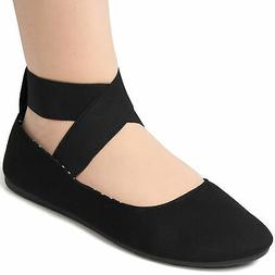 Alpine Swiss Peony Womens Ballet Flats Elastic Ankle Strap S