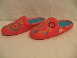 Acorn Pink Floral Embroidered Boiled Wool Slide Slippers Wom