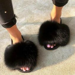 Real Fox Fur Slippers Vogue Fluffy Fur Sandals Trendy Slides