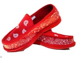 Red Bandana House Shoes Slippers Trooper Brand New Size 9 10