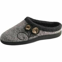 Acorn slippers Boiled Wool Dara -- Light Grey Button