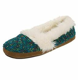 990185bec8d Dearfoams Slippers Women s Closed TEAL CONFETTI Fur Size XL
