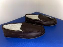 Sperry Top Sider Leather Slippers Shearling Lined Bedroom Sh