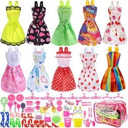 JANYUN Total 66pcs - 10 Pack Clothes Party Gown Outfits for