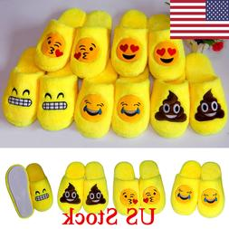 US Emoji Plush Stuffed Unisex Slippers Cartoon Warm Home Ind