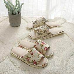 US Home Indoor Slippers Winter Warm Linen Plaid Shoes House