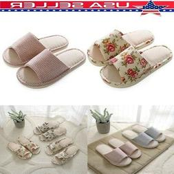 US Unisex Indoor House Slippers Winter Warm Linen Plaid Shoe