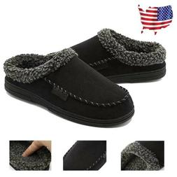 Winter Men's Fleece Lined House Shoes Cotton Slippers Slip O