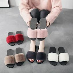 US Women Fluffy Fur Plush Slippers Ladies Winter Fur Slides