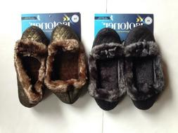 WOMANS ISOTONER SLIPPERS SIZE XL BLACK OR SIZE L BROWN FAUX